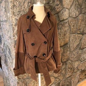 Zara Brown Suede Belted Jacket - Size M